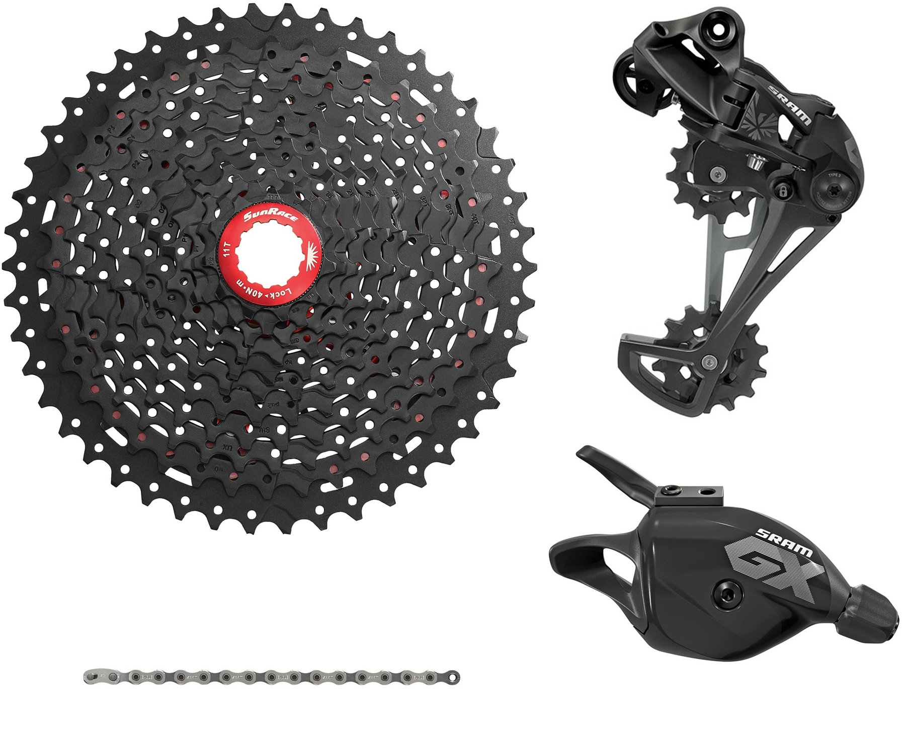 SRAM/Sunrace 12-Speed Gruppe til alm. body 11-50T Sort | Geargrupper
